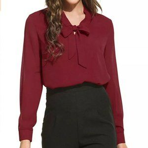 WOMEN'S BOW TIE NECK LONG SLEEVE BLOUSE -WINE RED